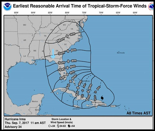 NOAA Projections of Irma
