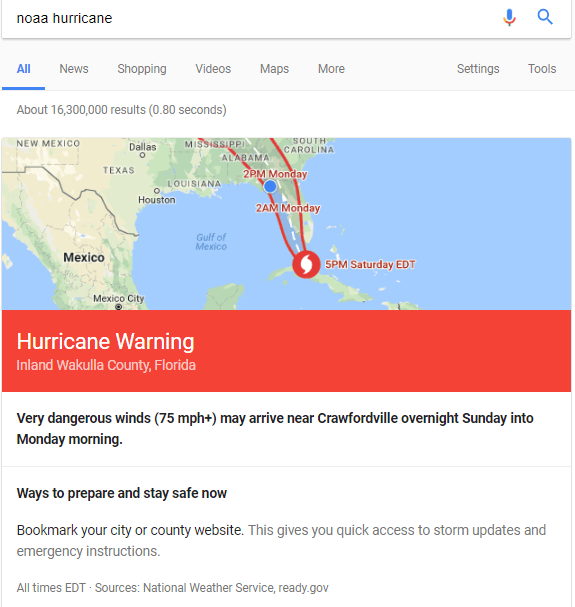 Google NOAA Hurricane search